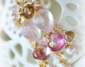 RESERVED oOo The ROSA CASCATA Earrings oOo dangle earrings with carved leaf madagascan rose quartz, pink mystic quartz and pearl
