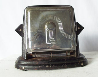 Vintage 1920s Toaster-  Fostoria Bersted- Never Used - Tin and Chrome - Antique