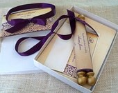Medieval wedding invitation suite in aubergine and gold,  {25}