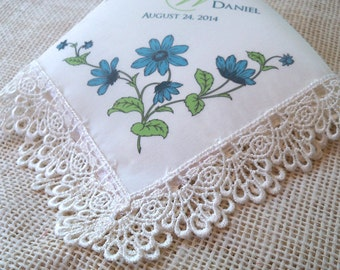 Lace wedding handkerchief in cream silk with monogram and blue flowers