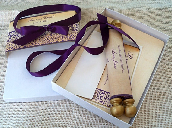 medieval wedding invitation suite in aubergine and gold 25, Wedding invitations