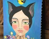 Original Folk Art Cat Girl with Bird Painting 20x16x.5
