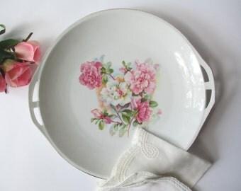 Platter German Pink Green Floral Handled Serving Platter - Vintage Chic