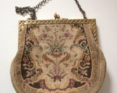 Vintage french tapestry evening bag