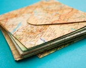 Set of 20 passport size upcycled atlas envelopes - Wedding invitations - Travel