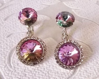 Vitreal Light Pink Clip On Earrings with Swarovski Crystal Rivoli - Clipon Prom Jewelry - Colorful Statement Earrings