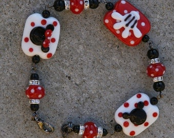 Magic Glove Disneyland SRA Lampwork Disney Inspired Mickey Minnie Mouse Style DeSIGNeR Bracelet Black N Red Polka Dots