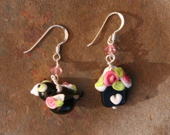 Bird and Bird House Black and White Floral Garden Lampwork DeSIGNeR EaRrings Spring Time Garden Daisies Roses