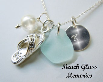 Sea Glass Jewelry Personalized Beach Glass Necklace Starfish or Flip Flop Strand Necklace