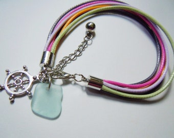 Friendship Cord Sea Glass Bracelet - Choose your Charm Seaglass Bracelet - Beach Glass