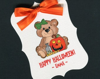 Large Personalized Halloween Favor Tags, teddy with pumpkin 2, set of 25