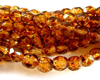 25 Czech Glass Bead 6mm Tortoise Gold Fire Polished Faceted Round - 25 pc - G6035-TTG25-AG