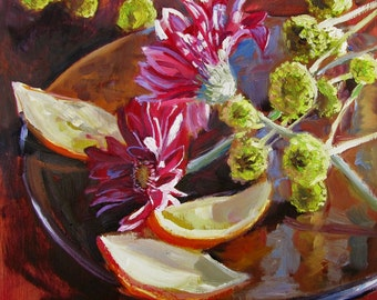 """Oil Painting, Still Life, Daisies and Orange Peels, Fine Art, Floral, 12 x 12"""""""