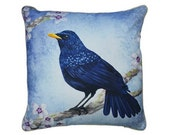 XL Cushion cover for throw pillow with bird - Blue Whistling Thrush - 24x24inch // 60x60cm