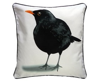 Cushion cover for throw pillow with bird - Blackbird in white -  16x16inch // 40x40cm