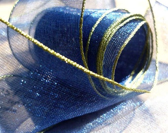 """5 Yards of Navy Organdy Ribbon Banded in Olive Green  (1"""")"""