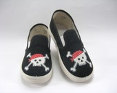 Kid's Pirate Shoes, Skull and Crossbones, Hand Painted Black Canvas Slip Ons for Toddlers