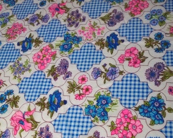 """vintage 60s novelty juvenile print brushed nylon fabric, featuring cute floral and gingham design, 37"""" x  35"""""""