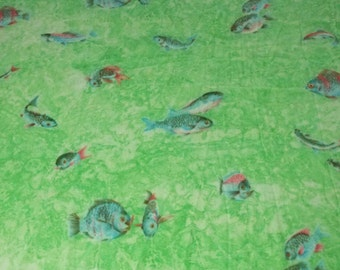 SALE vintage 70s stretchy polyester fabric featuring kitsch fish print, 1 yard, 2 available priced PER YARD
