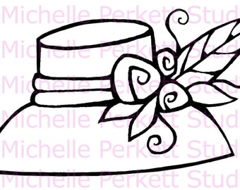 Digital Stamp Image Hat Flowers Feathers Red Hat Society Cardmaking Scrapbooking Stamping