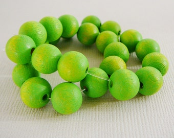 Vintage .. Wood Beads, 10mm Lime Green Bead Jewelry Supplies