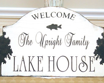 WELCOME to the LAKE HOUSE rustic cabin bass fish shabby sign Welcome fisherman, cabin decor