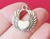 10 Large Heart Winged Charms 18x21x2mm, Hole Approx. 2mm ITEM:AR6