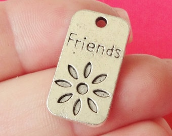 """10 """"Friends"""" Flower Charms12x23x1mm, Hole Approx. 1.5mm ITEM:AR10"""