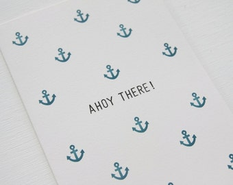 Ahoy There Anchor Prints Card