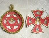 Cotton Cross and Angel Star Two Pensylvannia Dutch Christmas Ornaments