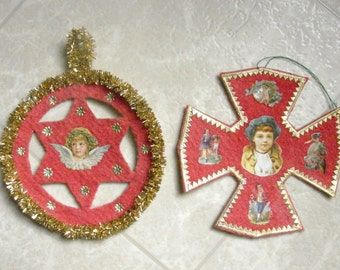 Cotton Cross and Angel Star Two Pensylvannia Dutch Christmas Ornaments
