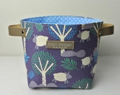 Fabric organizer basket with leather handles - Sheep in the forest
