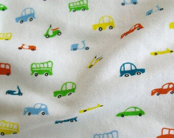 3489 - Colorful Car Scooter Cotton Jersey Knit Fabric - 66 Inch (Width) x 1/2 Yard (Length)