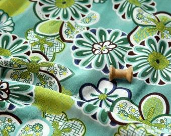 2534 - Japanese Kimono Chrysanthemum Floral Chirimen Crepe Fabric - 43 Inch (Width) x 1/2 Yard (Length)
