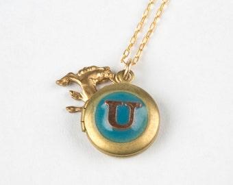 U Necklace - Initial U Necklace - Monogram Necklace - Unicorn Necklace - Unicorn Locket - Personalized Necklace - Letter Necklace - Letter U