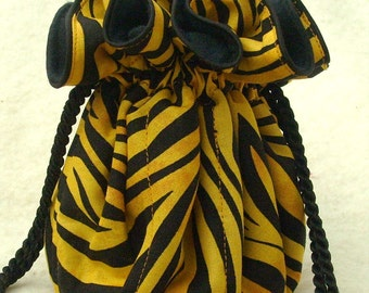 Anti Tarnish Jewelry Bag Pouch in Golden Tiger Animal Print