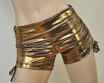Hot Yoga Shorts Golden Bronze Metallic Item #4344