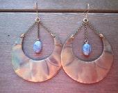 Gold Crescent Moon Earrings, Blue Kyanite Dangle Earrings, Hammered Copper Earrings, Healing Crystal Earrings, Dangle Drop Earrings