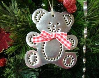Teddy Bear Ornament Handcut Punched Tin Old Fashioned By West Tinworks