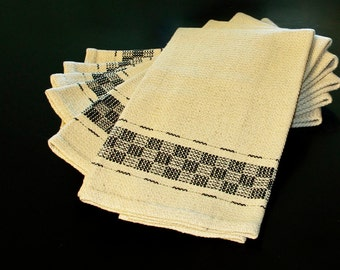 Handwoven Cotton and Linen Dish towel, Hand Hemmed  Kitchen Towel Black White dishtowel hand woven