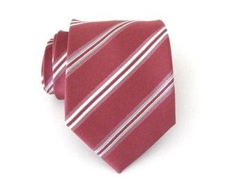 Mens Ties. Necktie Antique Pink Silver Ivory Stripes Mens Tie
