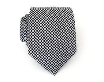 Mens Ties. Necktie White Black Dot Mens Tie