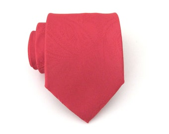 Men's Tie. Red Tie. Red Paisley Mens Tie With Matching Pocket Square Option