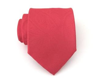 Men's Tie. Red Tie. Red Paisley Mens Tie