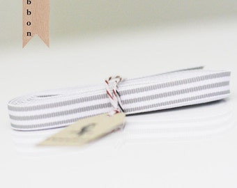 Oatmeal Gray Candy Stripe Ribbon 4 yards