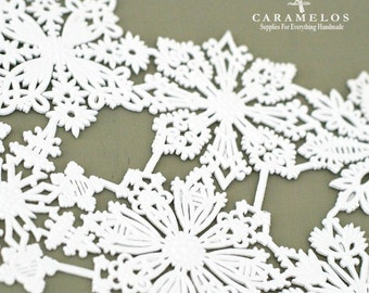 8 White assorted Dresden Snowflakes