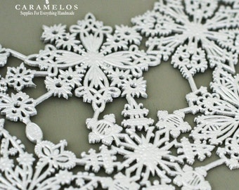 8 Silver assorted Dresden Snowflakes