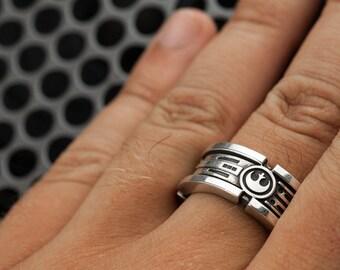 Lightsaber Wedding Ring Band Sterling Silver Custom Ring Large Size