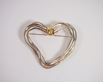 Premier Designs Heart Brooch Vintage 80s Jewelry