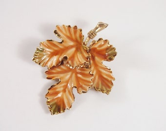 Maple Leaf Enamel Brooch Vintage 60s Jewelry
